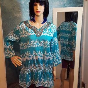 Chico's beaded tunic top size 1 / medium / 8